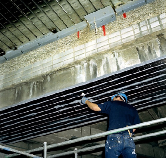 Strengthening structural concrete elements using carbon fibre plate bonding